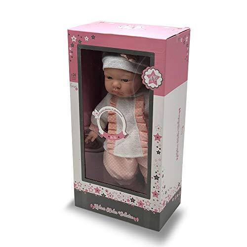Tachan - Muñeca con Cuerpo Blando de 40 cm, Vestida con Traje de bebé Rosa y 12 Sonidos Diferentes (781T00433)