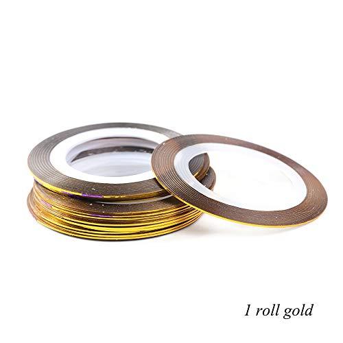 WATERMELON 0.5mm Laser Argent Or Ruban Nail Entrelacement Ligne Adhésif 3D Stickers Set Nail Art Décorations Glitter Stripes Conseils polonais (Color : 1pcs Gold)