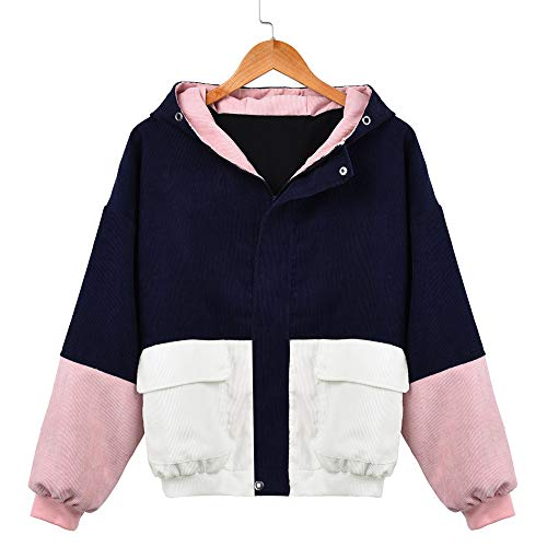Sumeiwilly Damen Coats Mode Frauen Langarm Cord Patchwork Oversize Jacke Windbreaker Mantel Frühling Herbst Winter Stilvoll Bequem Outwear