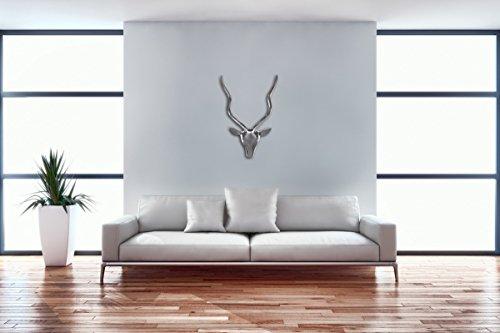 FineBuy Deko Hirschgeweih S Aluminium Wanddeko Landhausstil Silber Metall modern | Design Hirschkopf Landhaus Geweih Wand groß | Wohndeko Hirsch außen | Wandschmuck