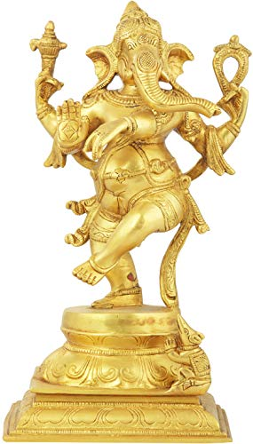 Exotic India Adorably Dancing Ganesha - Brass Statue - Color Gold Color