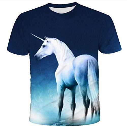 Camiseta Azul Marino para Hombre,Patrón Impreso En 3D,Animal Creativo Caballo Blanco con Estampado De Cuerno De Manga Corta,Camisetas De Cuello Redondo Informales De Verano De Secado Rápido-3Xl