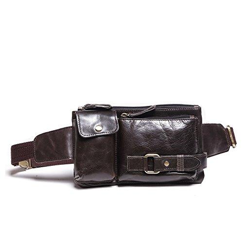 Teemzone Sporttasche Bauchtasche Hüfttasche Gürteltasche Wandertasche Hip Bag Reisetasche Doggy Bag Portmonai Geldbörse Damen Herren Leder (Dunkel Braun)
