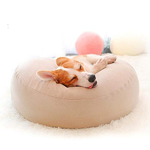 WEWE kleine hond bed zachte Haustierbett,katoen ademend gezellig deeltje vullen vol van vloeibaarheid hond matras dikker kussen, 60x60x20cm(24x24x8inch), Beige
