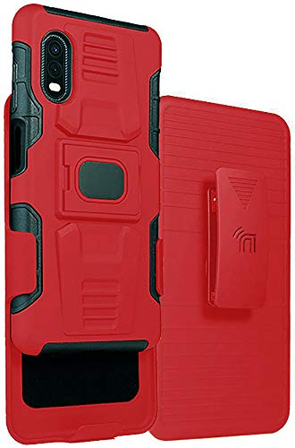 Case and Clip for Galaxy XCover Pro, Nakedcellphone [Red/Black] Rugged Ring Grip Cover with Stand [Built-in Mounting Plate] and [Belt Hip Holster] for Samsung Galaxy XCover Pro Phone (SM-G715)