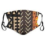 男性女性フィルター付き調節可能なフェイスマスク、屋外屋内用の再利用可能な通気性布製マスクバラクラババンダナ、現代的なアフリカの泥布