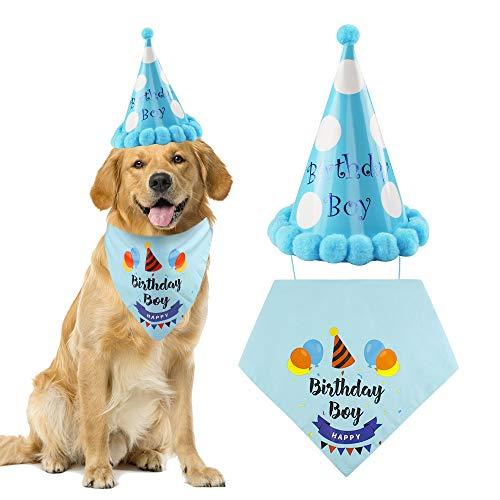 Hond Sjaal Hond Verjaardag Bandana Hoofddoeken KATON Driehoekige Sjaal voor Medium en Grote Honden Verjaardag Decoraties Set