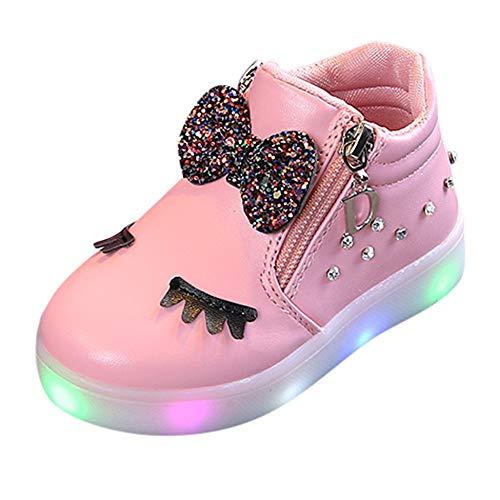 SUCES Kinder Kristall Bowknot LED Leucht Stiefel Baby Sportschuhe Herbst Winter Süß Schön Babyschuhe Reißverschluss Mädchen Schuhe Beiläufige Fleece Schneestiefel (Rosa,24)