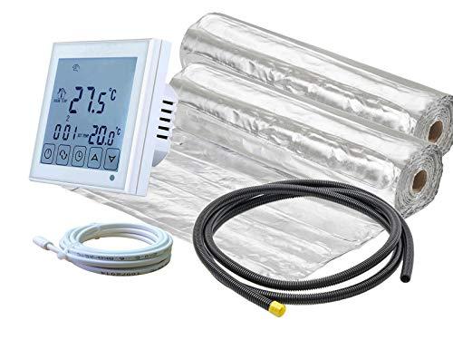 Elektrische Fußbodenheizung für Laminat/Klickvinyl 140 W/m² mit Thermostat RT-60 WLAN/Alexa Echo kompatibel (20 m² - 0,5 x 40 m)