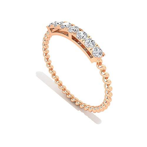 Anillo de compromiso con certificado IGI de diamantes en espiral, única alianza...