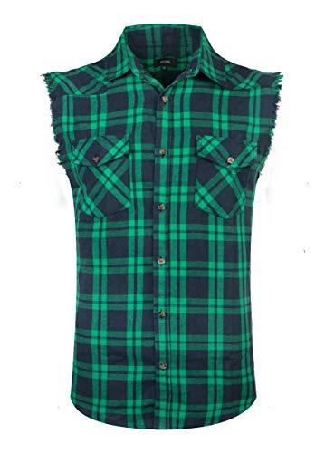 NUTEXROL Men's Casual Flannel Plaid Shirt Sleeveless Cotton Plus Size Vest
