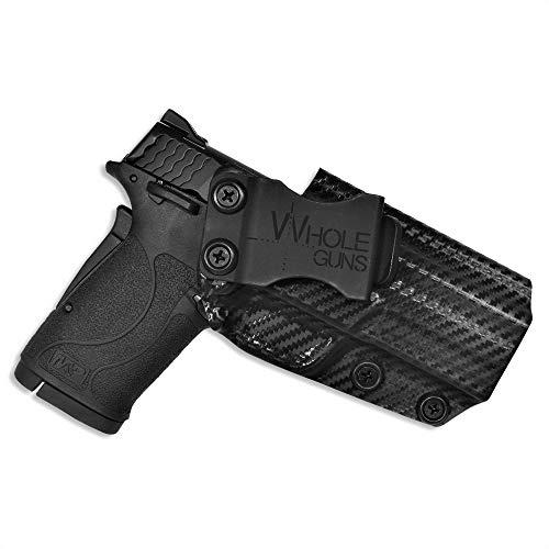 WHOLEGUNS New US Brand - IWB KYDEX Holster - Inside Waistband Sweat Guard - Adj. Cant & Posi-Click Retention - 100% US Made (S&W M&P9 Shield EZ, Carbon Fiber)