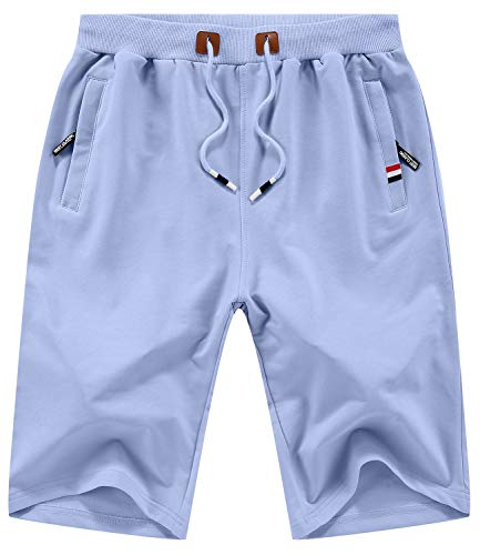 KUYIGO Mens Shorts Summer Sports Shorts Drawstring with Pockets Elastic Waist 3X-Large Blue