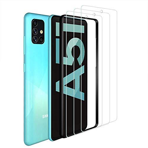 ANEWSIR 3 Stuck Schutzfolie Kompatibel mit Samsung Galaxy A51 Panzerglas 9H HarteKeine BlasenEinfach zu montierenmit Montagehalterung Displayschutzfolie Kompatibel mit Samsung A51