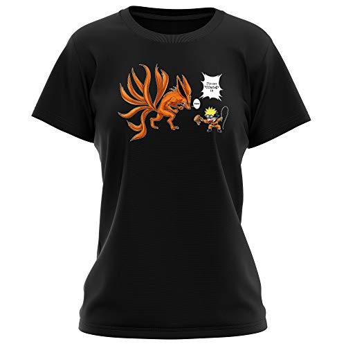 T-Shirt Femme Noir Naruto parodique Naruto et Kyubi Le Biju à 9 Queues : Couché ! (Parodie Naruto)