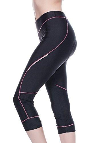 4Ucycling Damen Fahrradhose Kurz Radhose Gepostert Cycling Hose 3/4 Leggings Pink S