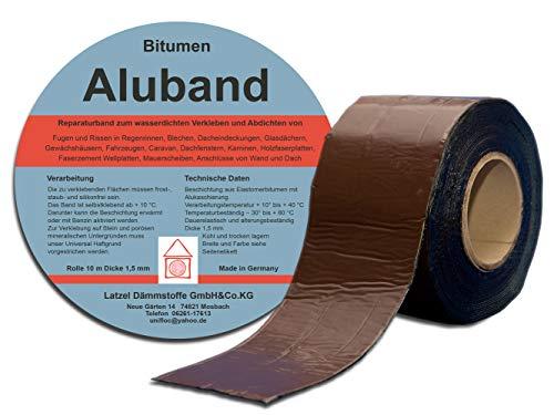 Bitumen Aluband Reparaturband Dichtband Farbe Braun 100 mm - Rolle 10 Meter. Hergestellt in Deutschland.