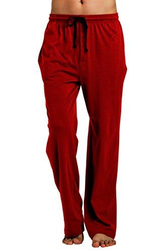 CYZ Men's 100% Cotton Jersey Knit Pajama Pants/Lounge Pants-Burgundy-L