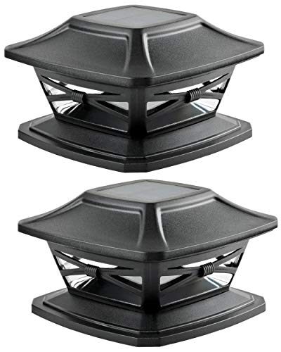 Davinci Lighting Flexfit Solar Outdoor Post Cap Lights - 4x4 5x5 6x6 - Bright LED Light for Fence Deck Garden or Patio Posts - Slate Black (2 Pack)