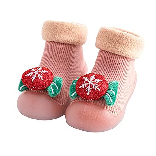 YWLINK Calcetines Infantiles De Suela Blanda NavideñA Calzado Casual Infantil Zapatos De Goma Antideslizantes Calcetines De Punto Zapatos De Casa Nuevas Botas Desnudas Zapatos (Caqui, Numeric_22)