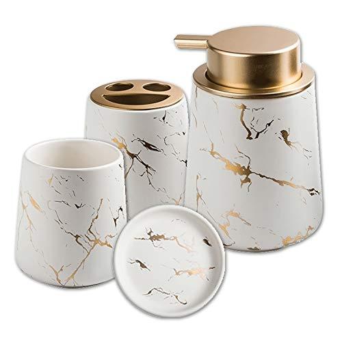 4-teiliges Stilvolles Bad Set, Badezimmer Set aus Keramik Luxuriöses Badezimmer Zubehör Mit Seifenspender Seifenschale und Zahnputzbecher in Marmor-Optik (White Smiley)