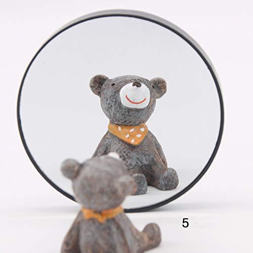Miroir grossissant 5 / 10X de maquillage miroir rond avec deux ventouses cosmétique outils grossissant de miroir rond (Color : 5X)