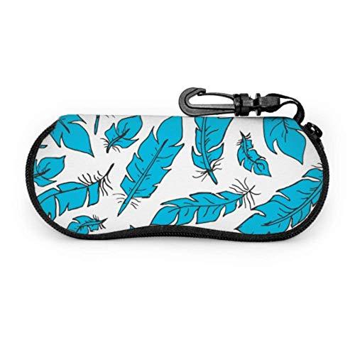 HHJJI Pluma azul Gafas de sol de estilo mágico Bolsa protectora Funda de gafas personalizada Luz Cremallera de neopreno portátil Estuche blando Estuche de gafas de sol
