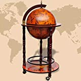 "vidaXL 40"" Wood Globe Wine Bar Stand 16th Century Italian Rack Liquor Bottle Shelf"