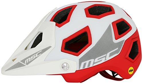 MSC Bikes MIPS Enduro Casco, Blanco/Rojo, S/M