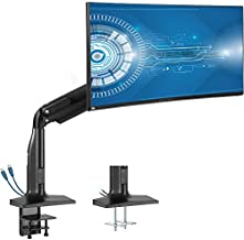 VIVO 17 to 43 inch Aluminum Single Ultrawide Monitor Articulating Pneumatic Arm Mount with USB Ports, Clamp-on Desk Stand, Fits 1 Screen with Max VESA 200x100, Black, STAND-V100HU