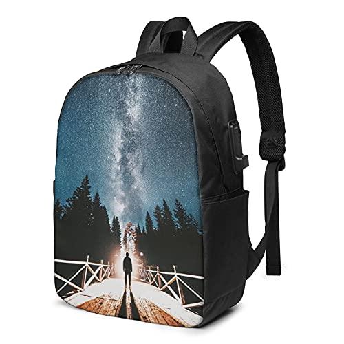 Mochila con puerto de carga USB, resistente al agua, duradera, para estudiantes/negocios, escuela, mochila de viaje para hombres y mujeres (47 pulgadas), Puedes hacerlo. 2, Talla única