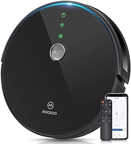 MOOSOO Robot Aspirador Compatible con Alexa y Google Assistant, con Navegación Inteligente, Control de Aplicaciones, Anti-Colisionesc, 2300Pa, Silencioso, RT30