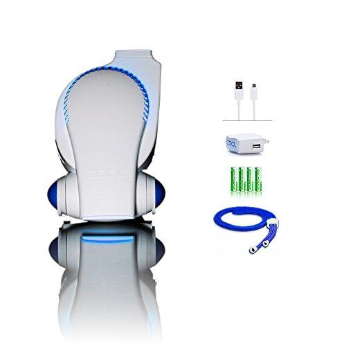 Next Generation Cool On The Go Rechageable Fan with LED Lights Baby Stroller Fan/Desk Fan/Travel Fan/Personal Fan - Includes Charger & High Performance Batteries - ECO Friendly Portable Fan with USB