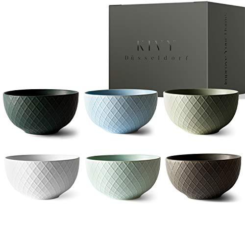KIVY® Müslischalen Set [6 x 850 ml] - Extra Groß für Müsli, Suppen & Bowls - Müslischale Groß - Bowl Schüssel Set- Suppenschüsseln Groß - Müslischüsseln - Suppenschalen Groß - Schalen Set
