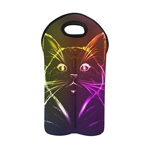 Borsa regalo bottiglia di vino Un simpatico gatto in una luce al neon Borsa da vino da spiaggia Portabottiglie doppio Portabottiglie da vino Portabottiglie in neoprene spesso Manti