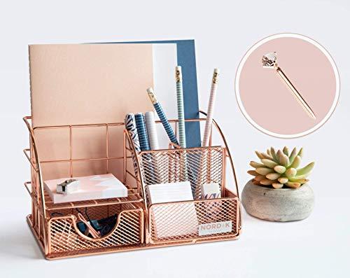 Organizador de escritorio de oro rosa y almacenamiento para tus accesorios – bonita decoración de oficina para mujeres y niñas – Set rosa para portatápicos, papel, archivos,...