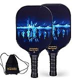 Pickleball Set, Pickleball Paddles, Pickleball Paddle Set of Two, Night Run Beach Tennis Racket with Pickleball Cover as Pickleball Gifts for Women Men Beach Ball Game Outdoor