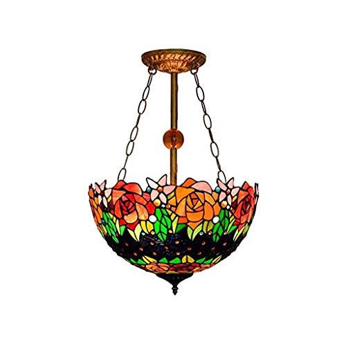 JJZXD Arte clásico de la Vendimia Vidrio Manchado del Estilo de la libélula, luz Pantallas de iluminación Lámparas de jardín