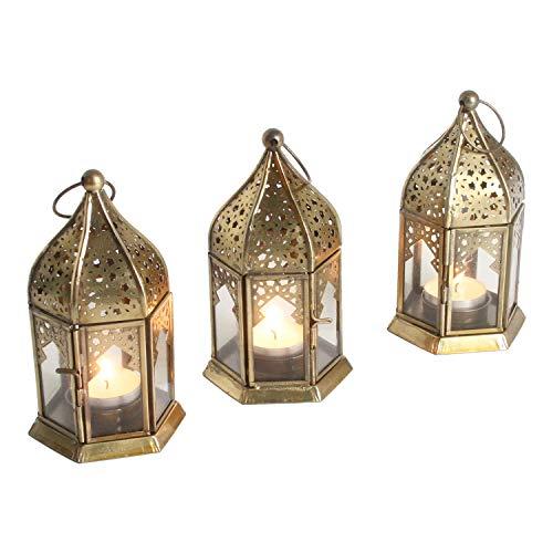 Casa Moro Orientalische Windlichter Nael Transparent 3er Set Höhe 16 cm aus Metall & Glas | 3 marokkanische Glaslaternen im Antik-Messing-Look für drinnen & draußen | WDL1060