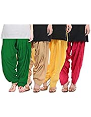 Bully Women's Cotton Patiala Salwar Bottoms (Combo Of 4) (Free Size)