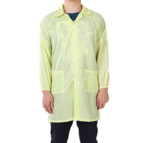 Peto antiestático unisex ESD Lab Coat Button up Revel Collar S Yellow