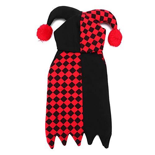 Leoie Leuke Huisdier Halloween Cartoon Clown Joker Kostuum voor Huisdier Hond Teddy Kat Herfst Winter slijtage, M, Zwart Rood