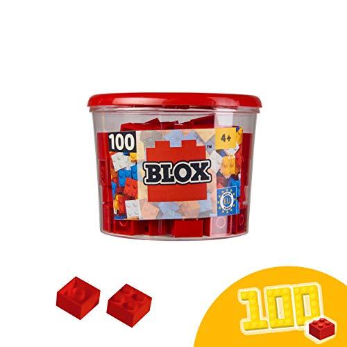 Simba 104114111 Blox, rote Bausteine Made in Italy, 4er Steine, inkl. Aufbewahrungsdose, höchste Qualität und 100 Prozent kompatibel mit bekannten Spielsteinen