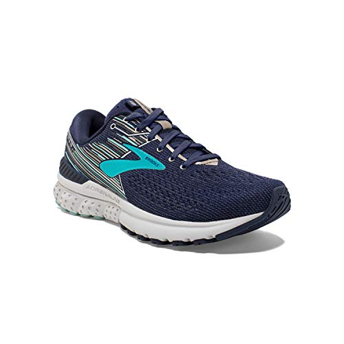 Brooks Womens Adrenaline GTS 19 Running Shoe - Navy/Aqua/Tan - B - 7.0