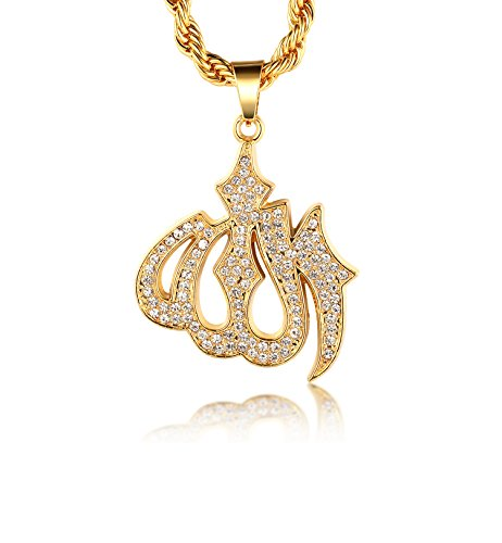 Halukakah  Gold Bless All  18k Real Gold Plated Allah Islam Symbol Pendant Necklace with Free Rope Chain 30' Thick 2mm