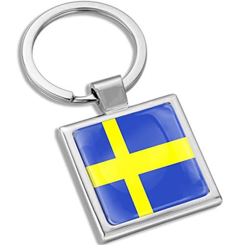 Biomar Labs® Schlüsselanhänger Metall Keyring mit Geschenkbox Autoschlüssel Geschenk Metall-Schlüsselanhänger Schlüsselbund Edelstahl Schweden Sweden Swedish Schwedisch Flagge Fahne KK 288