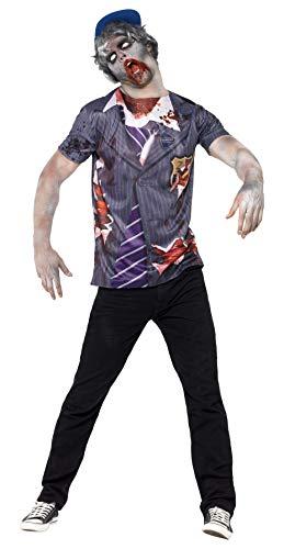 Halloween! Smiffys Zombiekostüm Schuljunge, mit T-Shirt und Kappe, Sublimationsdruck