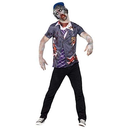 SMIFFYS Zombie Scolaro, comprende Maglietta e Berretto, Stampa a sublimazione