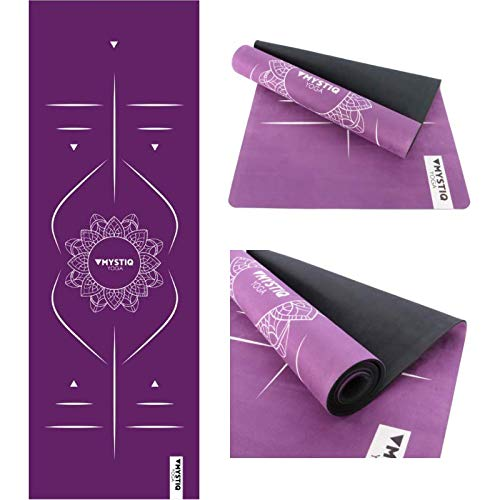 MYSTIQ Yoga   PRO Yoga Mat   5.5mm Thick   Natural Rubber + Suede   Large Mats 72x24in   Non Slip & Non Toxic   Hot, Bikram, Pilates, Exercise, Fitness   Free Carrying Strap (MANDALIGN II - PURPLE)