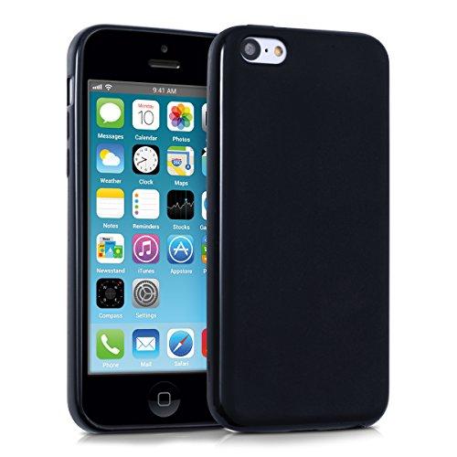 kwmobile Funda para Apple iPhone 5C - Carcasa para móvil en TPU silicona - Protector trasero en negro mate